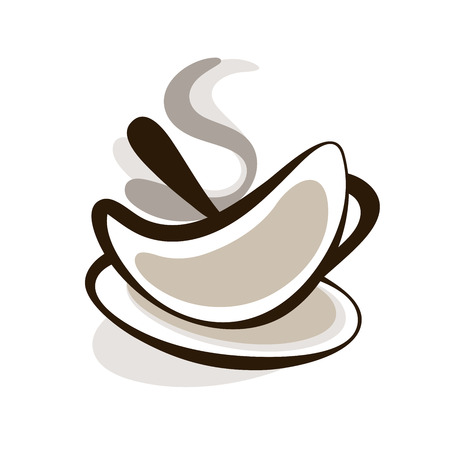Vector Outline Hot Silhouette Cup Of Coffee Illustration