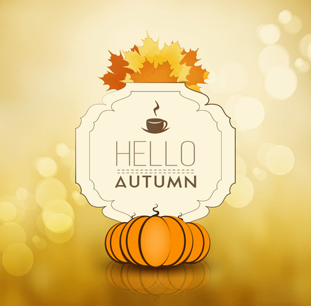 Autumn Fall Orange Background With Maple Leafs, Ripe Pumpkins And Text Illustration