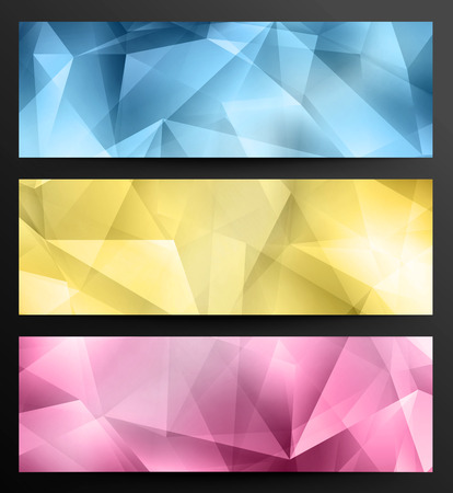 clippng: Set Of Crystal Abstract Geometric Web Banners Illustration