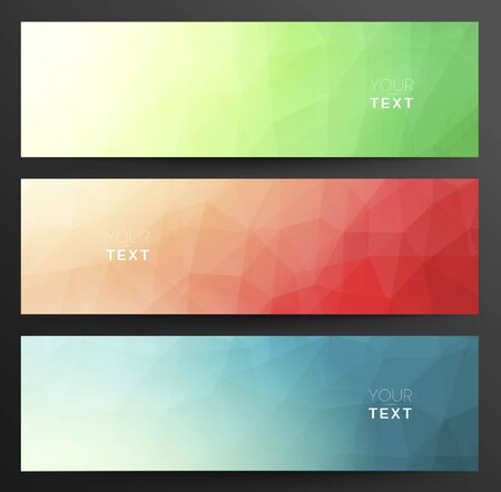 clippng: Set Of Abstract LowPoly Triangular Geometric Blue, Red And Green Banners