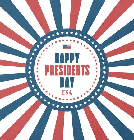 Presidents Day Card With Grunge Radiant Background Illustration
