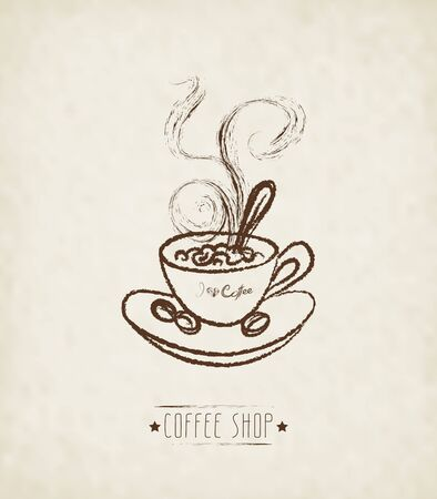 hot cup: Hand Drawn Cup Of Hot Coffee On Dirty Background. Concept image of coffeehouse, restaurant, menu, cafe, coffee shop