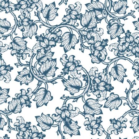 pattern: Hand Drawn Vintage Floral Seamless Ornate Pattern