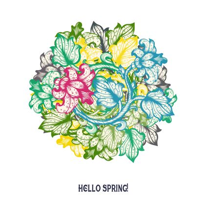 vintage: Hand Drawn Sketch Spring Vintage Floral Vector Design Wirh Flowers And Leaves