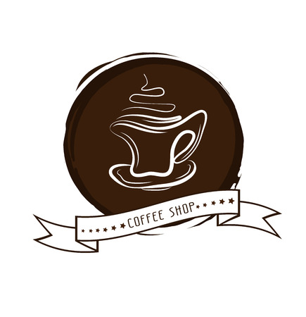Vector illustration of cup of hot coffee. Concept image of coffeehouse, restaurant, menu, cafe, coffee shop