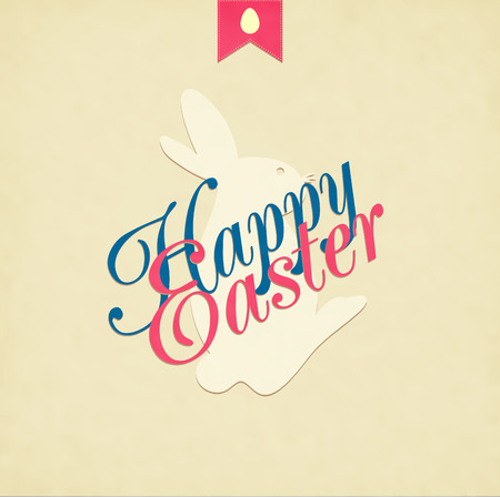 brown egg: Easter Hand Drawn Egg With Text On Grunge Background Illustration