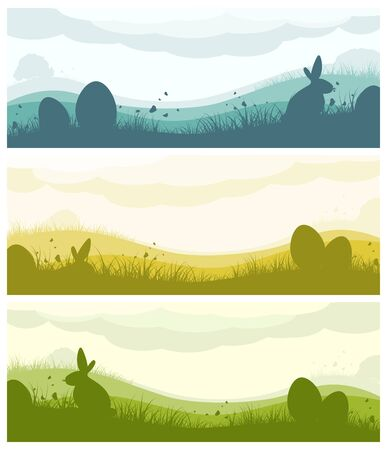 Set of Easter banners with silhouette of eggs, bunny, field, clouds, grass and butterflies Illustration