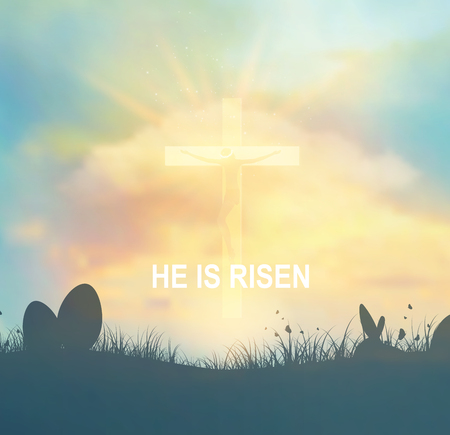 risen: Easter Background With Heaven, Clouds, Jesus And Cross