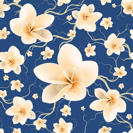 Bloemen Naadloos Patroon Met Tak En Lente Bloemen