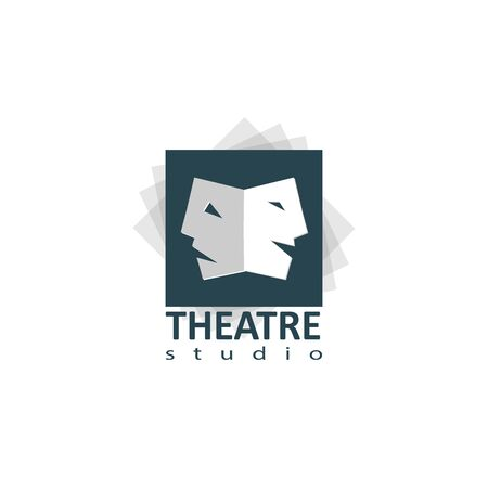 comedy: Set of theater studio logo design with comedy and dramatic mask Illustration