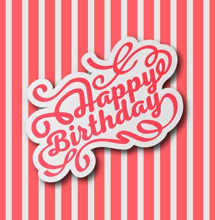 Vector illustration. Greetings card. Handwritten modern brush lettering of Happy Birthday. Typography design. Zdjęcie Seryjne - 131988458