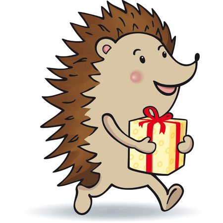 Hedgehog is carrying a gift