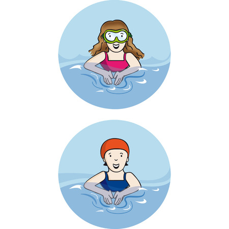 swimming cap: swimming girl with glasses and a swimmer with cap
