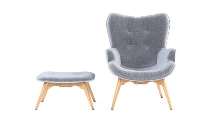 Fashionable modern gray armchair with wooden legs, ottoman isolated on white background. Furniture, interior object, stylish armchair. Single piece of furniture. Scandinavian style armchair. Archivio Fotografico