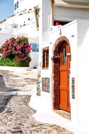 Santorini island, Greece, Aegean sea, Europe. Details of the traditional cycladic architecture, one of the most beautiful travel destinations of the world. Famous travel destination.