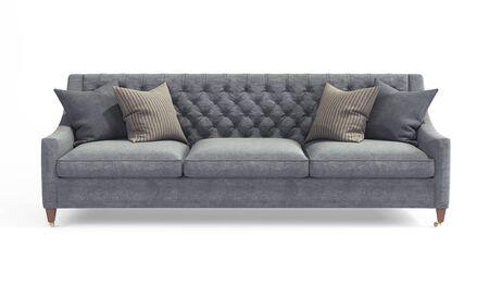 Divano grigio classico scandinavo moderno con gambe con cuscini su sfondo bianco isolato. Mobili, oggetti interni, divano elegante. Archivio Fotografico