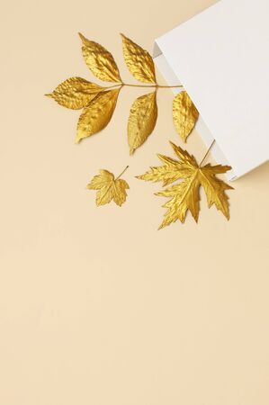 Flat lay creative autumn composition. White Gift Paper package and Golden leaves on beige background top view copy space. Fall concept. Autumn background. Minimal concept idea, floral design. Reklamní fotografie