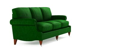 Classic beautiful comfortable fabric green sofa on wooden legs Isolated on white background with shadow. American style sofa. Furniture, interior object, stylish couch.