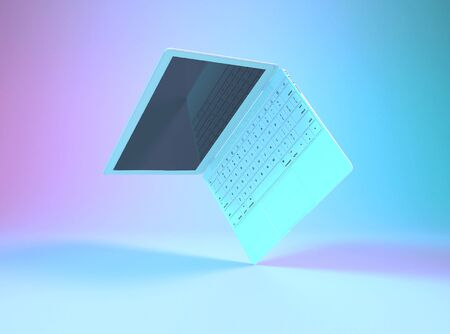 Laptop or notebook computer with english keyboard illuminated by bright gradient holographic lights of pink blue emerald colors. Creative minimal office background. Pop art, mock up 3D illustration.