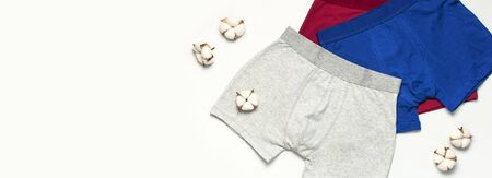 Mens underwear, set of multi-colored underpants and cotton flowers on white background flat lay top view copy space. Fashion blog, natural underwear, advertising, shopping concept. Pants boxers. Stockfoto