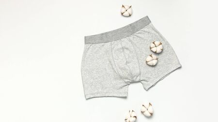 Mens underwear, gray underpants and cotton flowers on white background flat lay top view copy space. Fashion blog, natural underwear, advertising, shopping concept. Pants boxers.
