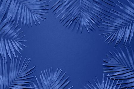Tropical palm leaves on blue background. Flat lay, top view, copy space. Summer background, nature. Creative minimal background with tropical leaves. Leaf pattern. Color of the year 2020 classic blue.