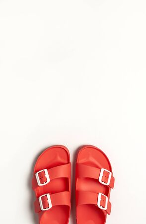 Fashionable beach coral birkenstock on white background. Flat lay, top view, copy space. Creative beach concept, stylish summer shoes, vacation, travel. Coral color. Summer background. 写真素材