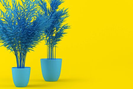 Layout of blue tinted palm tree in blue pot on yellow background. Creative background with palm tree. Home plant, indoor flower. Tropical plant. 3d illustration. Decorative palm tree pattern. Archivio Fotografico