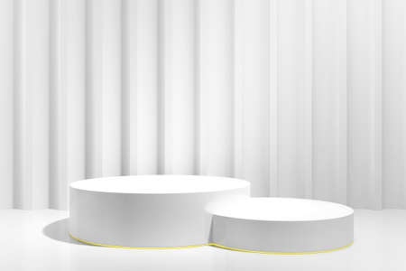 Two gray cylinder podium pedestal with gold edging against raised wall with LED lighting. 3D Rendering. Podium platform for product presentation, cosmetics. Pedestal mockup Front view Minimal concept