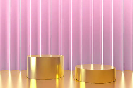 Gold cylinder podium pedestal against a raised pink wall with LED lighting. 3D Rendering. Podium platform for product presentation, advertising cosmetics. Pedestal mockup. Front view. Minimal concept