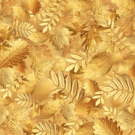 Autumn creative composition. Pattern from Golden autumn leaves of different shapes on beige gold background. Autumn concept, fall background. Minimal floral design, autumn leaf texture. Golden twig