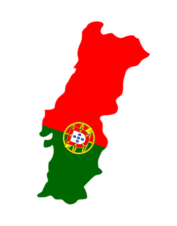 Map of Portugal with national flag isolated on white background.