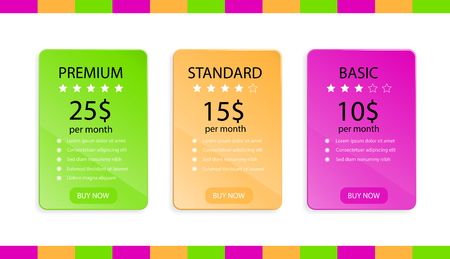Web card design element, set of vector templates of price tables.Three tariffs. Interface for the site, app. Illustration