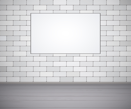 White brick wall and wood floor, mock up, empty space for text. Vector illustration.
