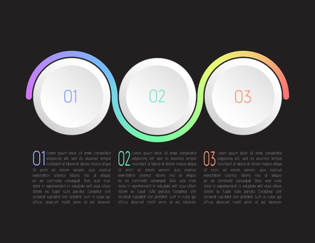 Three steps infographics, vector. Vectores