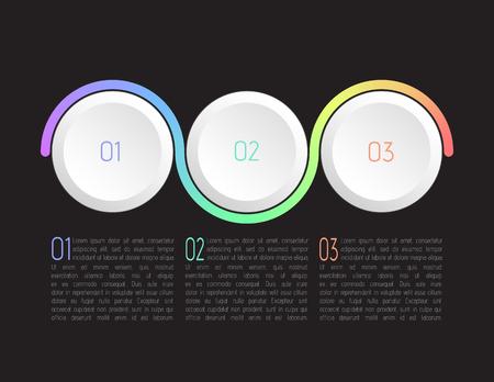 Infografía de tres pasos, vector.