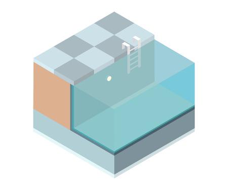 Isometric cutaway swimming pool on white background. Vector illustration. Ilustrace