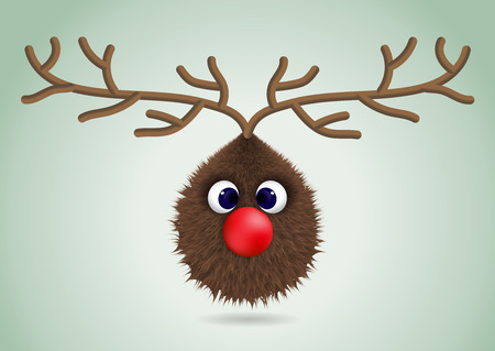 Isolated funny head of deer. Character for christmas card design. Vector illustration.