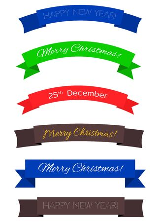 Set of color christmas ribbons: red, blue, green, black. With caption