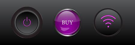 Set of buttons: buy, wifi, power. Design elements for website or app. Vector illustration.