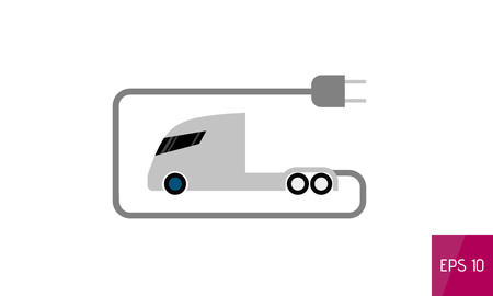 Electric truck flat icon, isolated on white background, vector illustration.