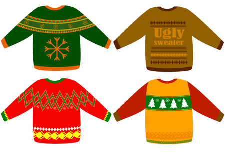 Ugly Christmas sweaters vector set, collection for invitations and greeting cards