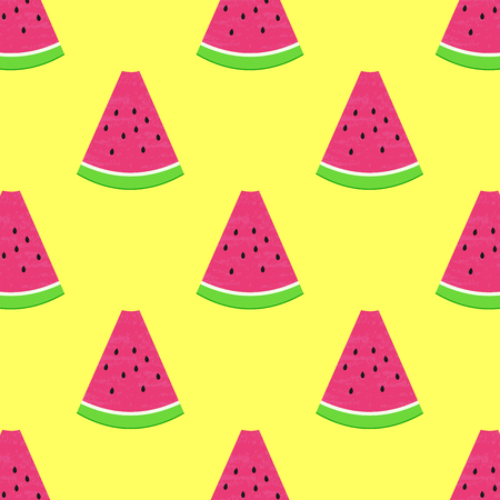 Seamless watermelons pattern. Vector background with watercolor watermelon slices. Ilustrace