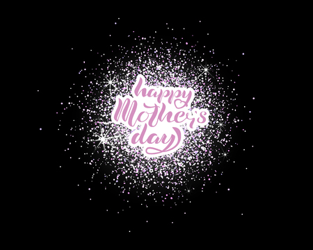 Happy Mother's Day lettering isolated on glitter background. Ilustrace