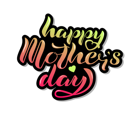 Happy Mother's Day lettering with heart isolated on white background. Design for greeting card, web, celebration badge, tag, icon. Festivity background. Vector illustration. Ilustrace