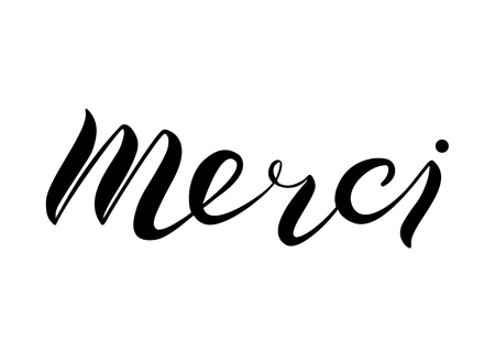 Merci. French word meaning thank you. Isolated on white background. Hand written lettering. Vector illustration.