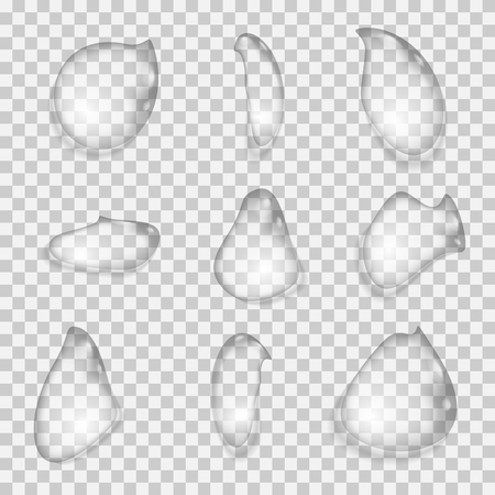Set of Drops of water on a transparent background. Vector illustration.