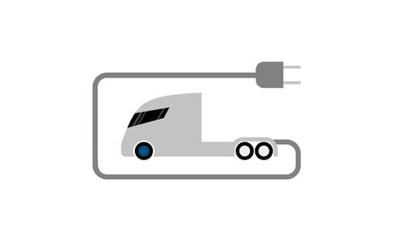 Futuristic electric semi trailer truck with plug, flat icon isolated on white background, minimalistic illustration.