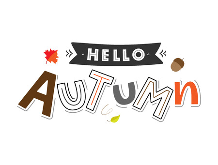 Hello Autum lettering typography with ribbon and botanic elements: acorns, leaves. Modern autumn fest calligraphy. Vector illustration on white background as poster, postcard, card, invitation.