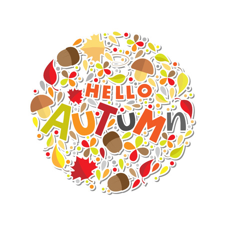 Hello Autum lettering typography with botanic elements: acorns, leaves, mushrooms. Modern autumn fest calligraphy. Vector illustration on white background as poster, postcard, card, invitation template. Ilustrace